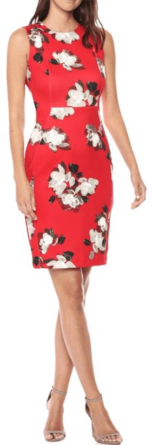 Item - Multicolor Sleeveless Red Floral Sheath Career Mid-length Cocktail Dress Size 10 (M)