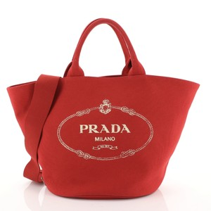 Prada Canapa Convertible Canvas Tote in red