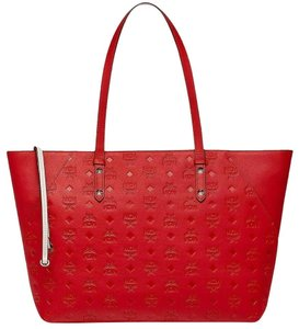 MCM Shopper Large Tote in Red