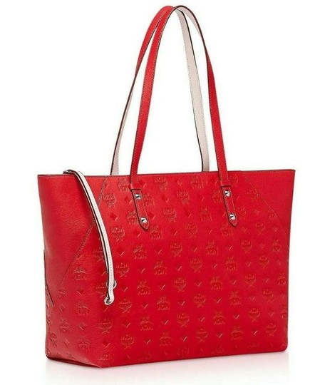 MCM Shopper Large Tote in Red Image 1
