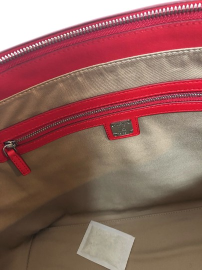 MCM Shopper Large Tote in Red Image 11