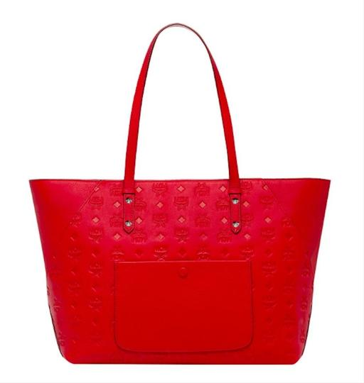 MCM Shopper Large Tote in Red Image 3