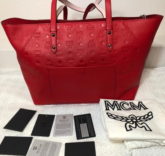 MCM Shopper Large Tote in Red Image 6