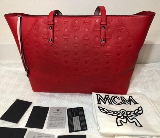 MCM Shopper Large Tote in Red Image 7