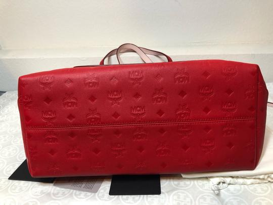 MCM Shopper Large Tote in Red Image 9