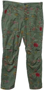 Anthropologie Embroidered Floral Thewanderer Capri/Cropped Pants green, pink, red, yellow