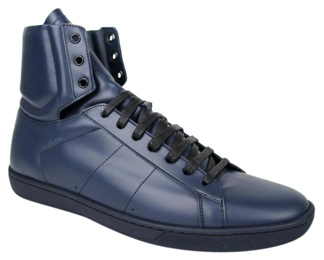 Saint Laurent Blue Signature Court Classic Sl/01h High Top In Indigo Leather Sneakers Size EU 45 (Approx. US 15) Regular (M, B) Saint Laurent Blue Signature Court Classic Sl/01h High Top In Indigo Leather Sneakers Size EU 45 (Approx. US 15) Regular (M, B) Image 1