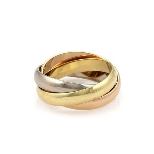 Cartier Trinity 18k Tricolor Gold 3.5mm Triple Band Ring Size 50-US 5 Cert Image 1