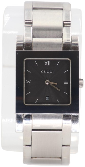 Item - Silver Black Gg 7900m.1 Men's Stainless Steel Square Face Watch