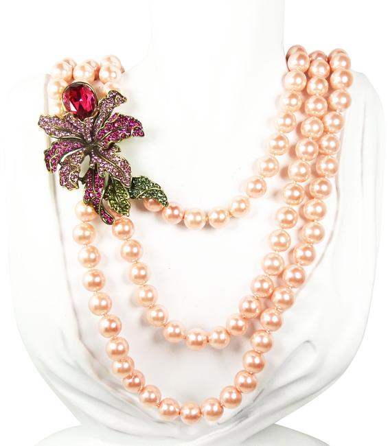 Item - Pink Wild Orchid Bold Flower Layered Three Strand Necklace