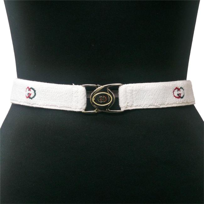 Item - White Red Green Chrome W Nos Early Stretch Chrome/Enamel Two Part Gg Logo Buckle Belt