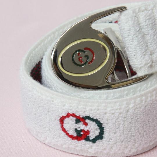 Gucci NOS early Gucci stretch belt w chrome/enamel two part GG logo buckle Image 1