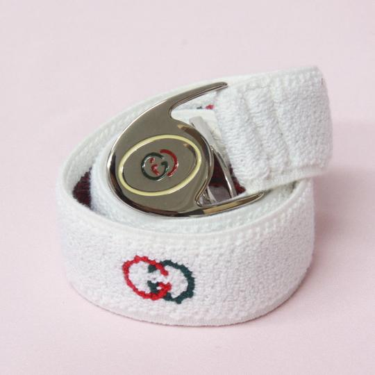Gucci NOS early Gucci stretch belt w chrome/enamel two part GG logo buckle Image 10