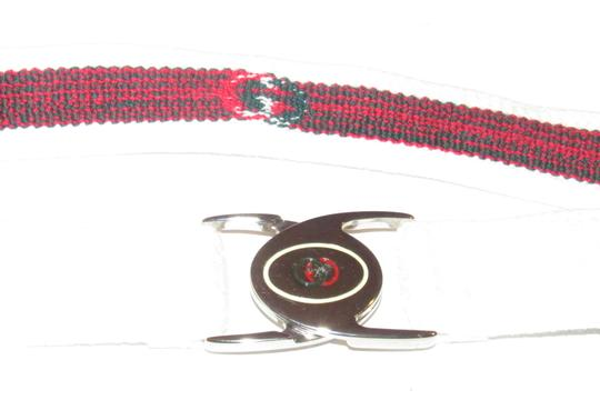Gucci NOS early Gucci stretch belt w chrome/enamel two part GG logo buckle Image 11