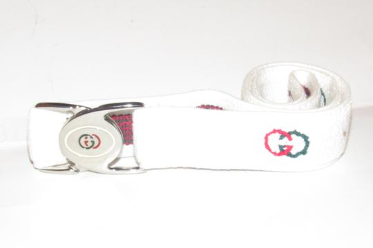 Gucci NOS early Gucci stretch belt w chrome/enamel two part GG logo buckle Image 3