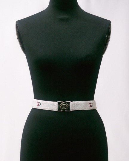 Gucci NOS early Gucci stretch belt w chrome/enamel two part GG logo buckle Image 5