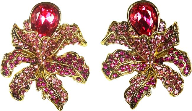 Item - Pink Wild Orchid Sparkling Swarovski Crystal Clip-on Earrings
