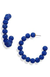 Lele Sadoughi Lele Sadoughi Blue E921 Stardust Crystal Hoop Earrings