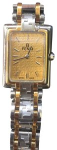Fendi Vintage FENDI Zucca Monogram Gold Tone and Stainless Steel Wrist Watch Logo Band Monogram Face
