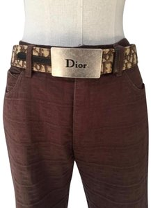 Dior Vintage CHRISTIAN DIOR Oversized Logo Monogram Trotter Silver Pewter Burgundy Brown Leather High Waisted Waist Belt Buckle Jewelry 80 S / 4