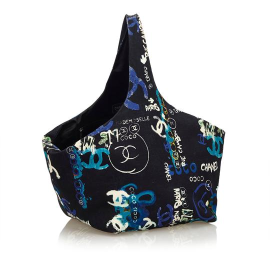 Chanel 8bchto010 Vintage Cotton Tote in Black Image 1