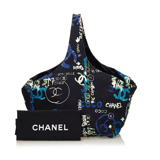 Chanel 8bchto010 Vintage Cotton Tote in Black Image 10