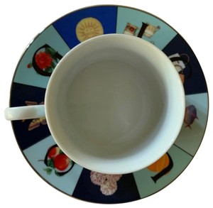 Gucci Vintage GUCCI Monogram Single Signed Cup Saucer Dish PlateGold Rimmed Cups Mugs Tea Cup Porcelain Fine Bone China