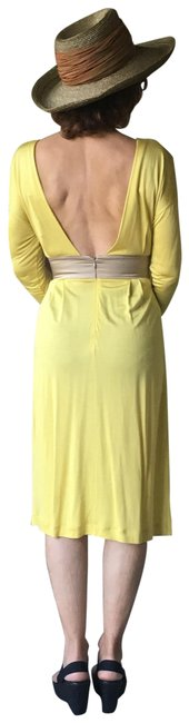 Item - Yellow with Tan Accents Mid-length Night Out Dress Size 4 (S)