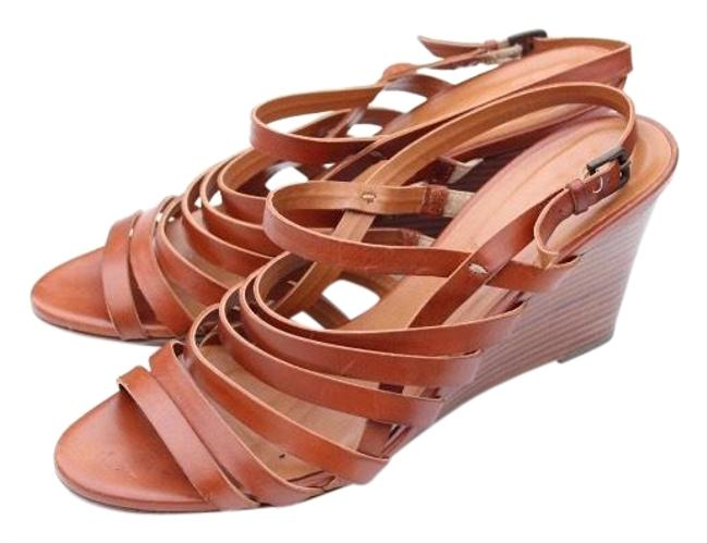 Item - Tan Strappy Leather Wedges Size US 8 Regular (M, B)