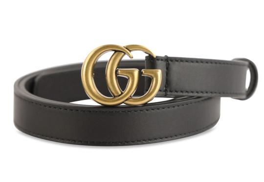 Gucci Gucci Skinny Leather Belt with Double G Buckle Image 1