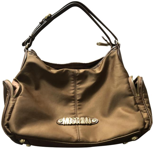 Item - Leather Trim Camel Nylon Shoulder Bag
