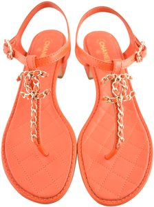 Chanel Ballerina Ballet Flat Camellia Classic Orange Sandals