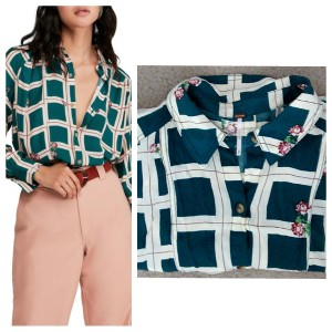 Free People Button Down Shirt Green and white