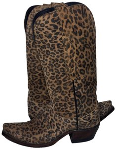 Lucchese 1883 Leopard Size 6.5 Women Cheetah Yellow Black Boots
