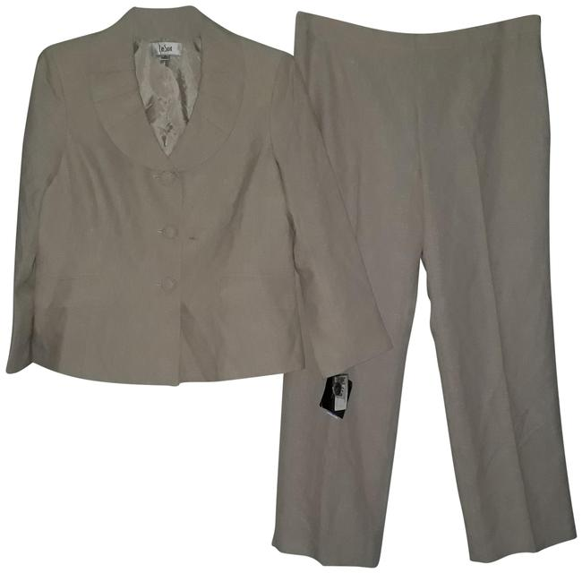 Item - Beige/White Coral Cabana Pleated Collar 3 Button Jacket Pant Suit Size 14 (L)