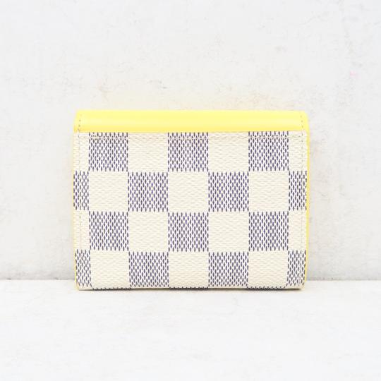 Louis Vuitton White and Yellow Zoé Damier Azur Canvas Wallet Image 2