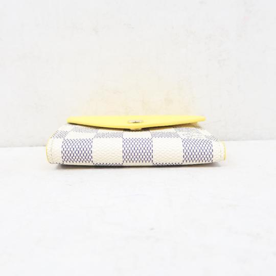 Louis Vuitton White and Yellow Zoé Damier Azur Canvas Wallet Image 5
