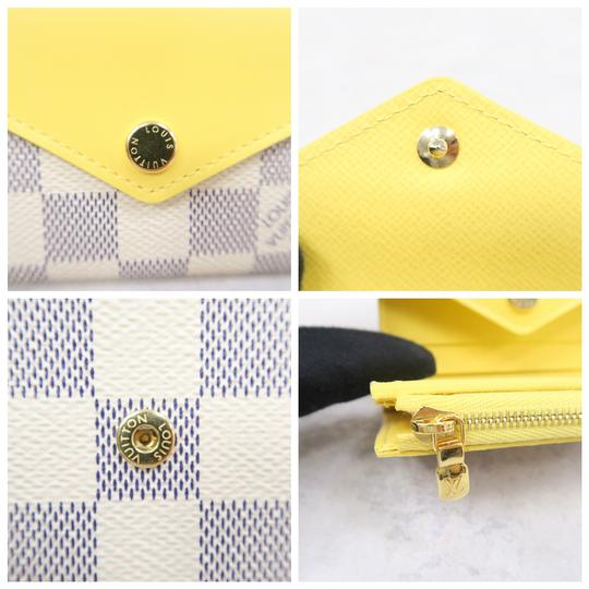 Louis Vuitton White and Yellow Zoé Damier Azur Canvas Wallet Image 7