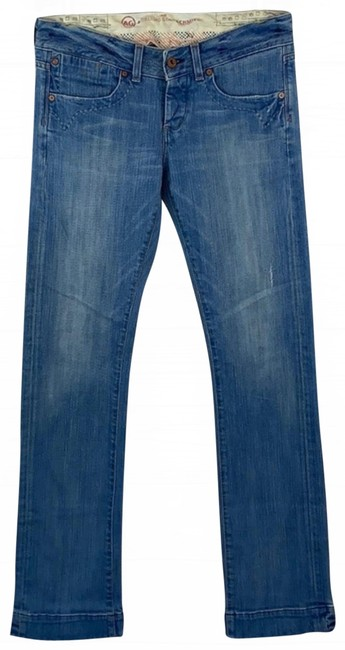 Item - Light Blue Distressed Thick Low-rise Denim Boot Cut Jeans Size 28 (4, S)