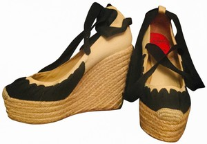 Christian Louboutin black and beige Wedges