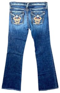 Plastic by Gly Embroidery Lowrise Flare Leg Jeans-Distressed