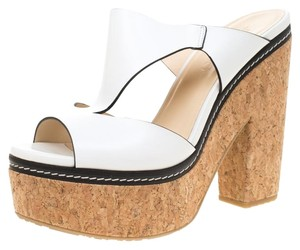 Jimmy Choo Leather Platform White Sandals