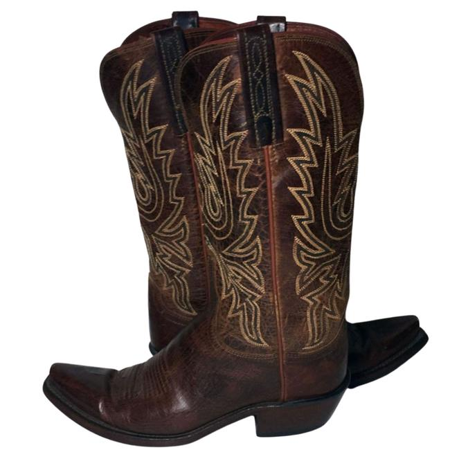 Item - Brown Dark Leather Western Cowgirl Women's Boots/Booties Size US 6.5 Regular (M, B)