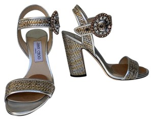 Jimmy Choo Evening Crystal Limited Edition Silver Metallic Leather Sandals