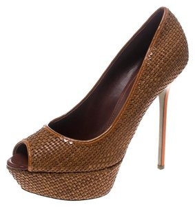 Sergio Rossi Woven Leather Platform Brown Pumps