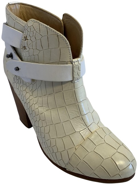 Item - White Ivory Croc Leather Harrow Boots/Booties Size EU 38.5 (Approx. US 8.5) Regular (M, B)