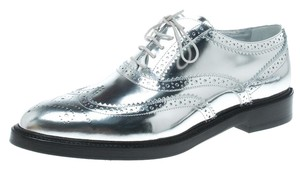 Burberry Metallic Leather Lace Silver Flats