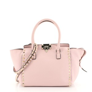 Valentino Rockstud Tote Leather Satchel in pink