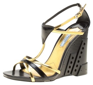 Prada Leather Gold Ankle Strap Black Sandals