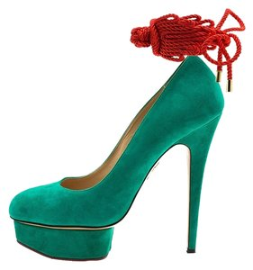 Charlotte Olympia Leather Suede Platform Green Pumps